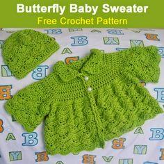 Butterfly Baby Sweater - Free Crochet Pattern