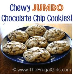 Chewy Jumbo Chocolate Chip Cookies Recipe! {these cookies are SO delicious, and taste like they're straight from the local bakery!} #cookie #recipes #thefrugalgirls