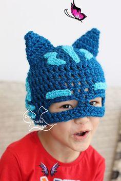 Catboy Mask Hat (PJ Masks)  <br> Crochet Toddler Hat, Crochet Hats For Boys, Crochet Baby Hats, Crochet Beanie, Pj Masks Kostüm, Crochet Character Hats, Crochet Mask, Halloween Crochet, Crochet Projects