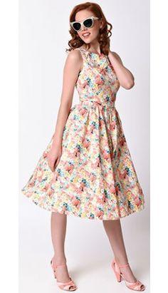 Voodoo Vixen 1950s Peach Spring Floral Pollyanna Swing Dress
