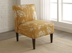 Skyline Furniture Armless Chair with Cone Legs in New England's Lace Butterscotch - SKY1969
