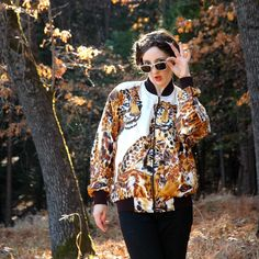 Silk Bomber Jacket// Big Cat Print// by AstralBoutique, $44.00