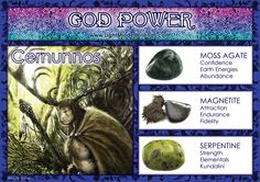 God Power: Cernunnos - Stones: Moss Agate, Magnetite and Serpentine