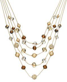 INC International Concepts Gold-Tone Bronze Bead Illusion Necklace