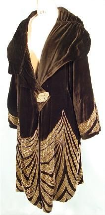 c. 1920's MADE IN FRANCE - Rue de la Paix Gown Black Velvet Beaded Art Deco Coat