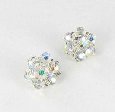 Aurora Borealis AB Glass Clip back earrings by vintagejewelrylane, $15.99