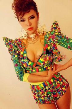 Fashion dj neon candy piece set costume stage clothing lady gaga dance jazz