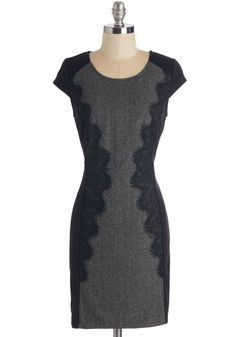 Network Newcomer Dress - Black, Grey, Solid, Sheath, Short Sleeves, Fall, Winter, Woven, Mid-length, Lace, Lace, Work, Scoop