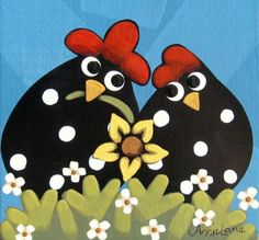 """"""" Cluckin Luv """" Whimsical Courtin Chickens Painting by Annie Lane Chicken Painting, Chicken Art, Tole Painting, Fabric Painting, Chicken Quilt, Rooster Art, Chickens And Roosters, Coq, Watercolor Cards"""