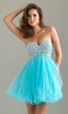 sexy Sweetheart blue Prom Dresses Manual nail bead by Charmbride, $108.00