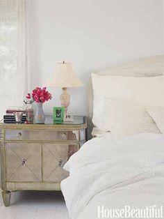 Cozy Bedroom. Design: Cristine Gillespie. #mirrored #nightstand housebeautiful.com.