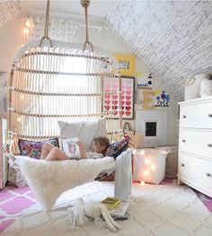 Hanging chairs will make you a book worm #fact Thanks for all your sweet words on the girls room update with our favorite new chair from @serenaandlily See more pics and details on my blog✨✨ http://liketk.it/2q49P @liketoknow.it #liketkit (TAP photo for sources)