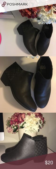 Black ankle booties Super cute black booties only worn once ! They are super comfy and the color is black with a bit of sheen to the fabric :) Faded Glory Shoes Ankle Boots & Booties