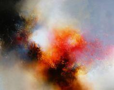 Grande toile peinture abstraite de l'artiste Simon Kenny « Vestige »