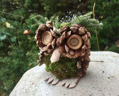 Small Handmade Owl made with moss, Pine cones and Birch bark. Free shipping.