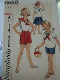 Finally over the memories of school uniforms and able to enjoy nautical again... Vintage 50s Simplicity Child Girl.