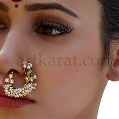 Apraudha Nath Nath Nose Ring, Nose Ring Jewelry, Nose Stud, Nose Ring Designs, Nose Jewels, Indian Nose Ring, Jewelry Patterns, India Jewelry, Necklace Designs