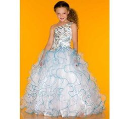 Amazon.com: Sugar White Blue Jewel Double Strap Ruffle Pageant Dress Girls 2T-14: Macduggal: Clothing