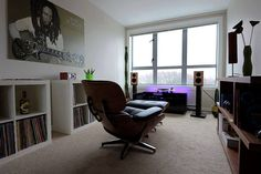 Eames Lounge Chair, vinyl colection and Harbeth Bookshelf
