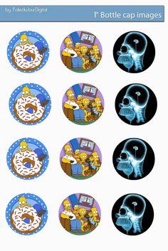 """Folie du Jour Bottle Cap Images: the Simpsons Free Digital bottle cap images 1"""" inch"""