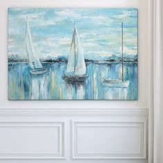 Breakwater Bay 'Evening on the Bay' Oil Painting Print on Wrapped Canvas Size: Oil Painting Flowers, Painting Edges, Painting Prints, Art Prints, Painting Art, Paintings, Boat Art, Wall Art For Sale, New Wall