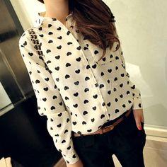Love Pattern Long Sleeve Chiffon Blouse