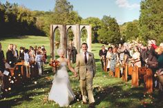 Cathedral windows at an outdoor ceremony