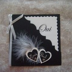 Share black and white wedding: Announcement by - Magnet Mode City Wedding Anniversary Cards, Wedding Cards, Wedding Invitations, Faire Part Baroque, Valintines Day, Dress Card, Making Greeting Cards, Camping Gifts, Small Heart