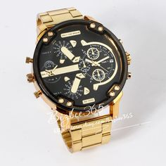 Cool Men's Big Case Watches Golden Steel Mens Calendar Quartz Wrist Watch Gift | eBay