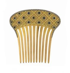 Cazzaniga hair comb, set with cabochion cut sapphires, in gold, signed.