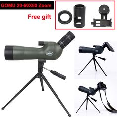 113.86$  Watch now - http://alifl8.worldwells.pw/go.php?t=32581766688 - GOMU Waterproof Angled 20-60x60 Zoom Spotting Scopes With Tripod+Cell Phone Adapter+DSLR Camera Adapter+T-ring for Camera 113.86$
