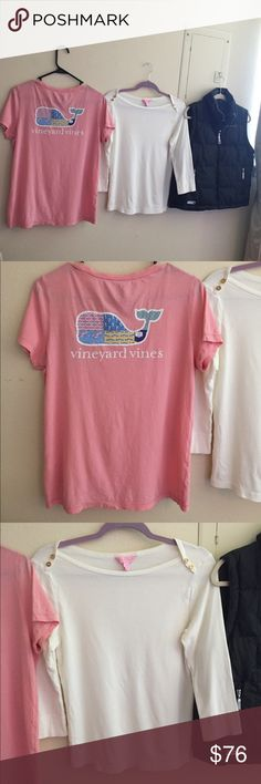 VineyardVines, LillyPulitzer, & FreeCountry Bundle All are gently used and have plenty of life left. The vineyard vines top has a small hole in the front. See pictures. All size medium Lilly Pulitzer Tops Tees - Short Sleeve