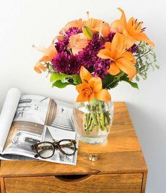 Orange Purple Blooms at From You Flowers Orange Roses, Orange And Purple, Happy Anniversary Wife, Purple Cushions, Asiatic Lilies, Fall Arrangements, Flowers For You, The Perfect Touch, Fall Harvest