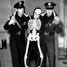 Vintage Halloween photo cops skeleton costume skeletons drunk tank retro
