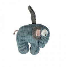 Crochet music clock, blue eleph.