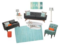 """Modern Seaside Living Room"" by ameliagrondin on Polyvore featuring interior, interiors, interior design, home, home decor, interior decorating, Décor Therapy, Steel 