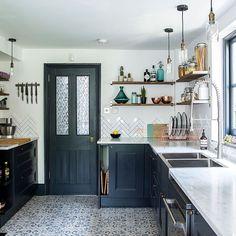 Dark Blue Kitchen Cabinets, Rustic Kitchen Cabinets, Farmhouse Cabinets, Cherry Cabinets, Kitchen Rustic, Grey Cabinets, Country Kitchen, Skinny Kitchen, New Kitchen