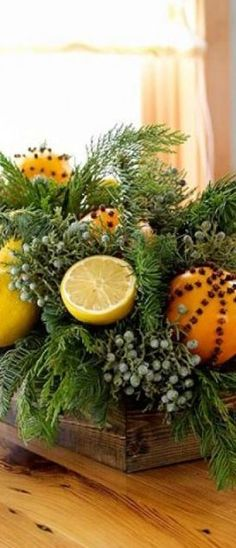 Spiced Citrus and Evergreen Centerpiece