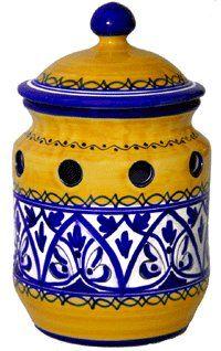 Ceramic Garlic Keeper from Spain. Fiesta Yellow Pattern - http://spicegrinder.biz/ceramic-garlic-keeper-from-spain-fiesta-yellow-pattern/