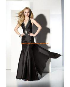 Belle robe noire simple pas cher décorée de cristaux robe de soirée 2013 satin stretch