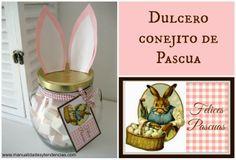 DIY Dulcero con orejas de conejo de Pascua / Easter bunny jar www.manualidadesytendencias.com #eastercrafts #manualidadesdepascua #manualidadesfáciles