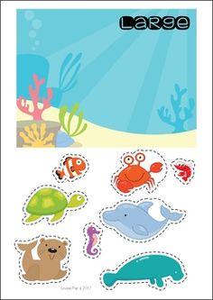Ocean Preschool and Kindergarten Center Activities. Sort the sea creatures by size. Zoo Preschool, Preschool Centers, Activity Centers, Preschool Activities, Kindergarten Centers, Kindergarten Crafts, Transitional Kindergarten, Thanksgiving Preschool, Ocean Themes