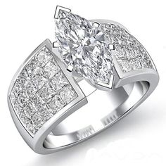 2.94 carats Marquise Cut Diamond Engagement Ring set on 14K WHITE Gold Gift EGL Certified