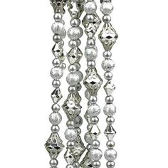 Felices Pascuas Collection 8' Dazzling Diva Shiny and Matte Silver Beaded Christmas Garland