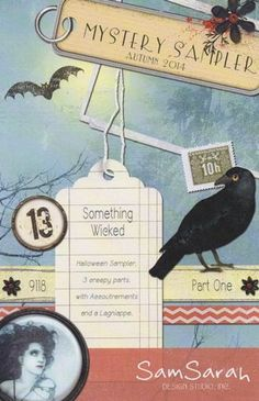 Something Wicked Part I is the title of this cross stitch pattern that is the first pattern in the three-part mystery sampler from SamSarah ...