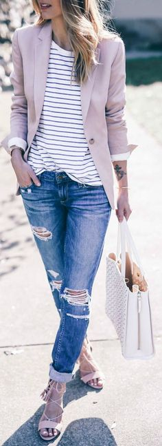 Jess Ann Kirby + classic spring style + distressed denim jeans + striped tee + pastel coloured blazer + cute and casual spring look Blazer: Reiss, Jeans: Revolve, Sandals: Dune.