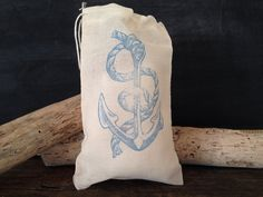 Anchor Muslin Bag Nautical Wedding Party Favor Rustic Birthday Gift Bag Stamped Set of 10 on Etsy, $15.00