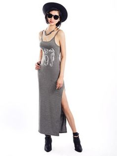 Shop Gray Camis Maxi Dress With Seahorse Print from choies.com .Free shipping Worldwide.