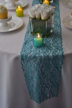 Items similar to Blue lace table runner 3 FT length Wide/ends cut not hemmed/wedding reception/bridal shower/aquamarine/Turquoise Blue/ free sample on Etsy Aquamarine Colour, Lace Table Runners, Blue Lace, Lace Trim, Wedding Reception, Bridal Shower, Decorative Boxes, Turquoise, Unique Jewelry