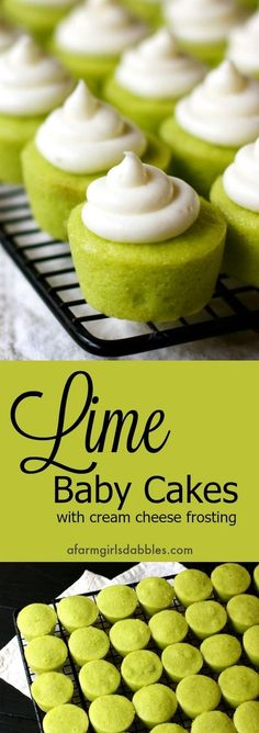 Lime Baby Cakes from afarmgirlsdabbles.com - Little flavorful lime cupcakes with swirls of cream cheese frosting